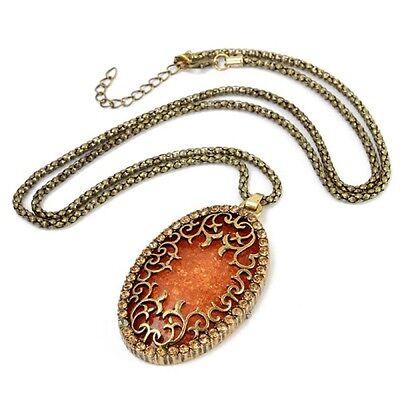- Women's Vintage Antique European Style Long Royal Orange Amber Pendant Necklace