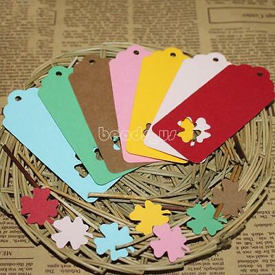 100pcs 4x9cm Hollow Four Leaf Clover Jewelry Clothes Price Tags Paper Hang Label