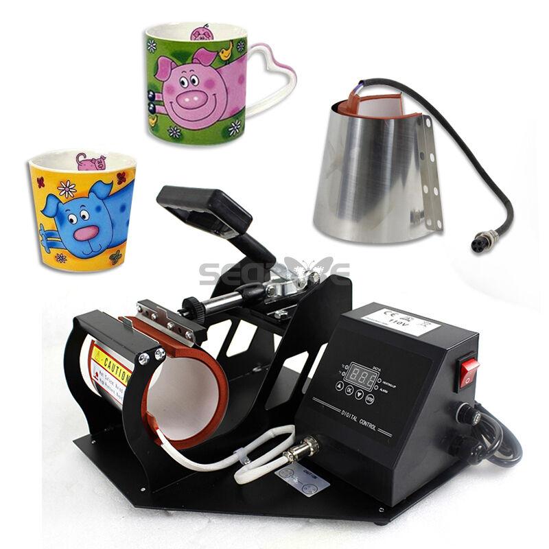 2in1 New Coffee Latte Mug Cup Heat Press Printer Sublimation Transfer Machine