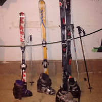 3 sets of Ski's, poles and boots almost new