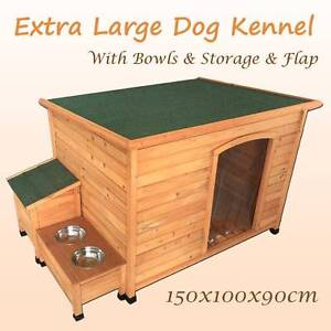 Warehouse direct XL 127cm wooden dog house kennel flap bolws stor Riverwood Canterbury Area Preview
