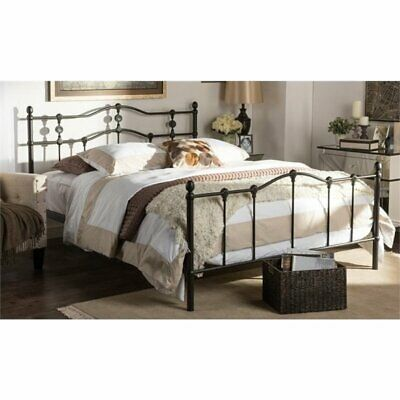 Pemberly Row Queen Metal Spindle Bed in Dark Bronze