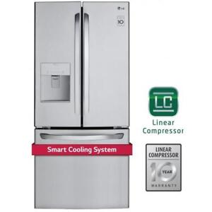 "LG LFD22786ST 30"" French Door Refrigerator With Exterior Water Dispenser Freezer Located Ice Dispenser, Energy Efficient"