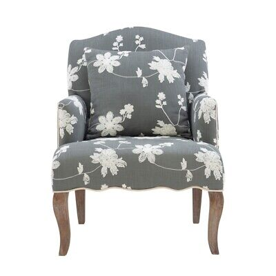 Linon Lauretta Floral Embroidered Arm Chair in Gray