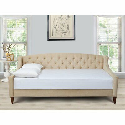 Lucy Upholstered Button Tufted Sofa Bed Beige