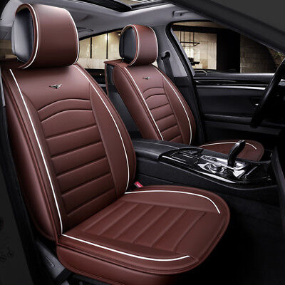 Deluxe Quality Brown PU Leather 1+1 Front Seat Covers Padded For
