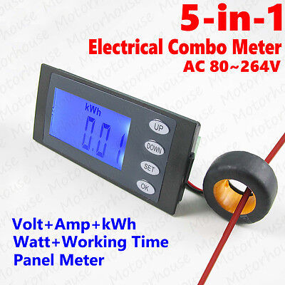 5 In 1 Ac 100a Digital Electrical Combo Panel Meter Volt Amp Kwh Watt Work Time