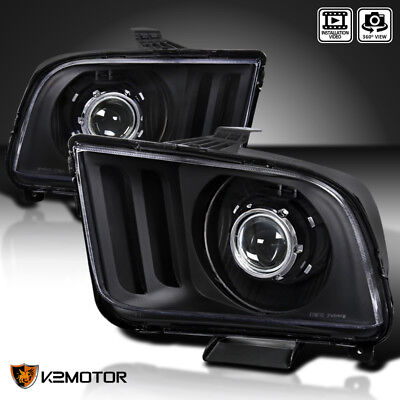 - Black 2005-2009 Ford Mustang Retrofit Style Projector Headlights Head Lamps