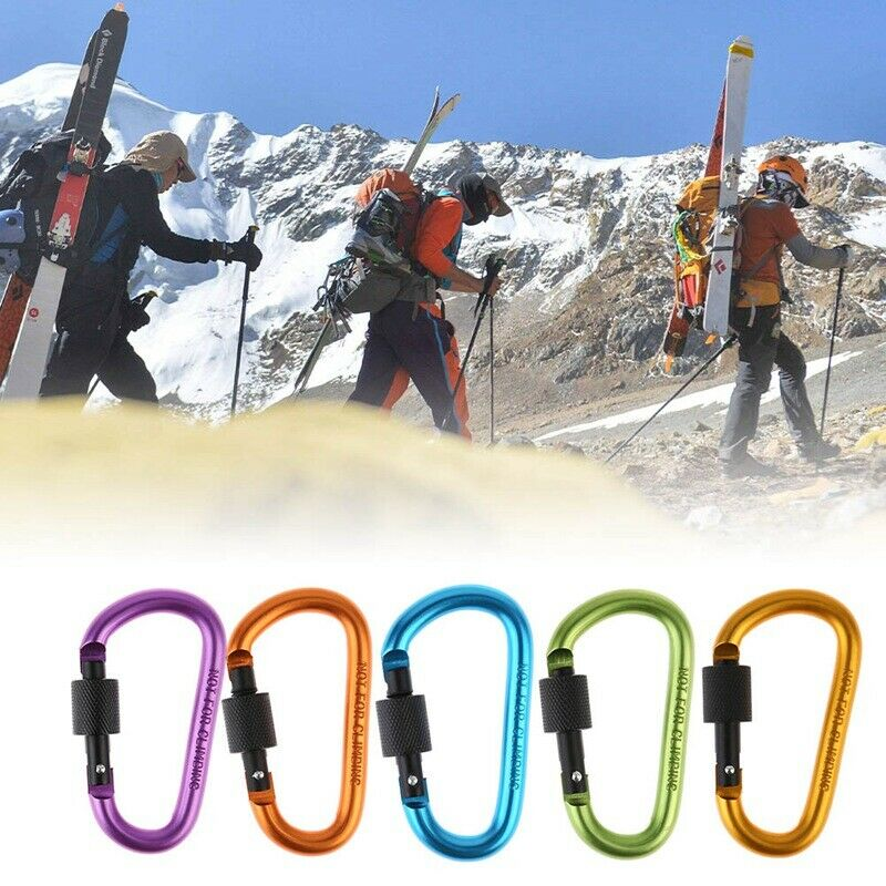 5X Heavy Duty Carabiner Clip Hook D-Ring Screw Lock Climbing