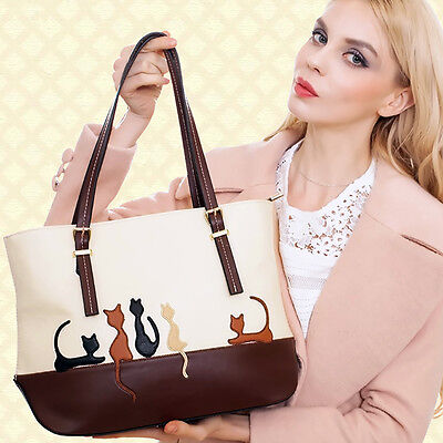 Women Lady Leather Shoulder Bag Cat Crossbody Handbag Satchel Large Tote Bags ()