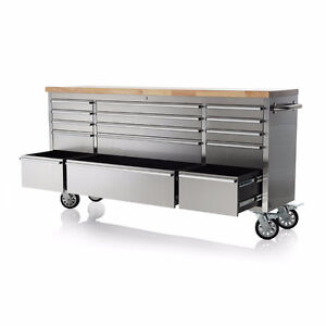 "NEW 72"" 15 DRAWER STAINLESS STEEL WORK BENCH TOOL BENCH STORAGE"