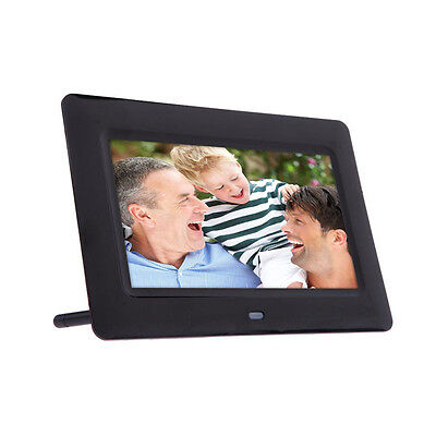 7 inch HD LCD Digital Photo Frame+Alarm Clock Slideshow MP3/4 Player Black New