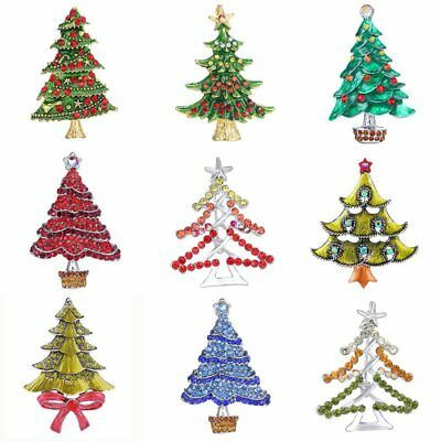 Womens Christmas Tree Costume (Charm Christmas Tree Crystal Brooch Pin Xmas Holiday Costume Jewelry Women)