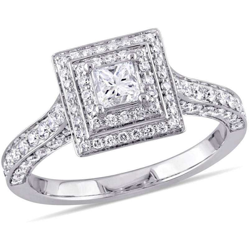 Amour 1-1/4 Ct Tw Diamond Halo Engagement Ring In 14k White Gold