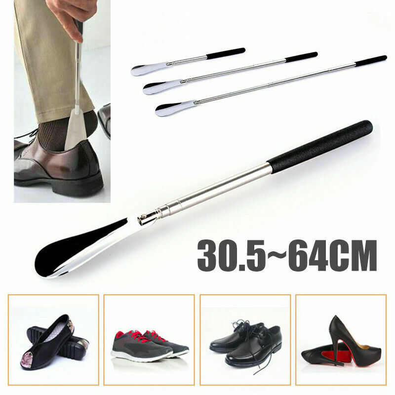 "Professional 25/"" Long Adjustable Handle Shoe Horn Stainless Steel Metal Shoehorn"