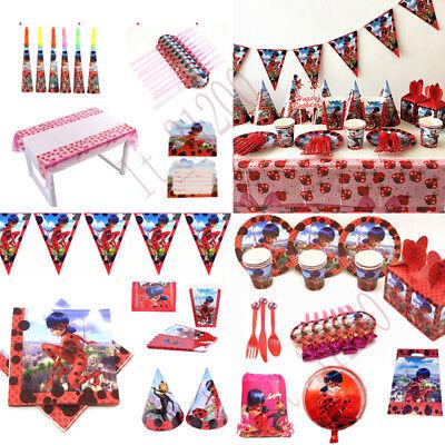 132x Miraculous ladybug Geburtstag Party Dekorationen Geschirr Tischdecke Tasse ()