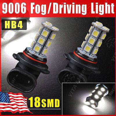 2X Car Pure White 9006 5050 HB4 18-SMD Head Lights Fog DRL Driving LED Bulbs