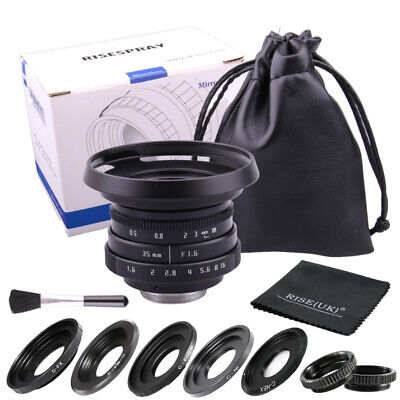 Fujian 35mm f/1.6 CCTV II cine lens for M4/3 / MFT Mount Camera & Adapter Black