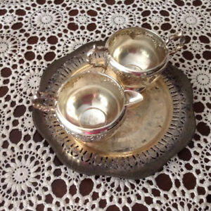 Silver Plated Cream and Sugar and Plate