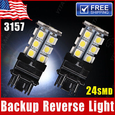 (2x White 3157 5050 24SMD  Backup Reverse LED Light Bulbs3156 3057 3456 3757 4114)