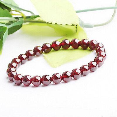 Fashion Pure Natural Garnet Bracelet Jewelry Gemstone Round Beads Bracelet In US - Garnet Bracelet Jewelry