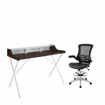 - 2 Piece Office Set with Cherry Desk and Drafting Chair