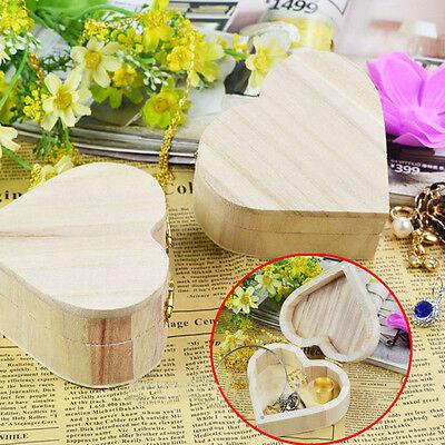 Best Selling Wood Grain Love Shape Jewelry Box Wooden Crafts Art DIY Mud