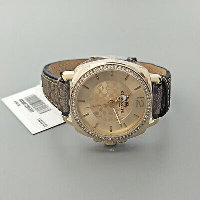 Women COACH Boyfriend Signature Gold Tone Watch