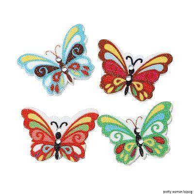 10 Stück  Knöpfe Holz Schmetterling rot Z37.3