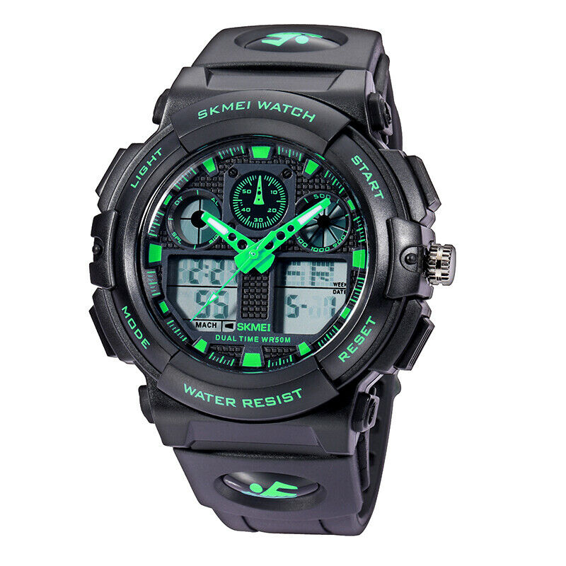 SKMEI Mens Army Military Sport Dual Time Alarm Waterproof Digital Analog Watch