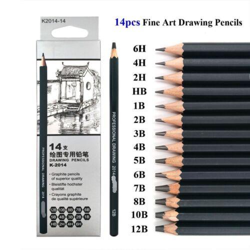 14pcs Professional Sketching Drawing Set Art Pencil Kit Graphite Charcoal Artist