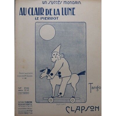 CLAPSON Au Clair de la Lune Piano ca1920 partition sheet music (Au Clair De La Lune Sheet Music)