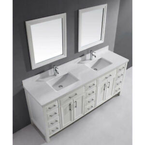 75 inch double bathroom vanity, with mirrors
