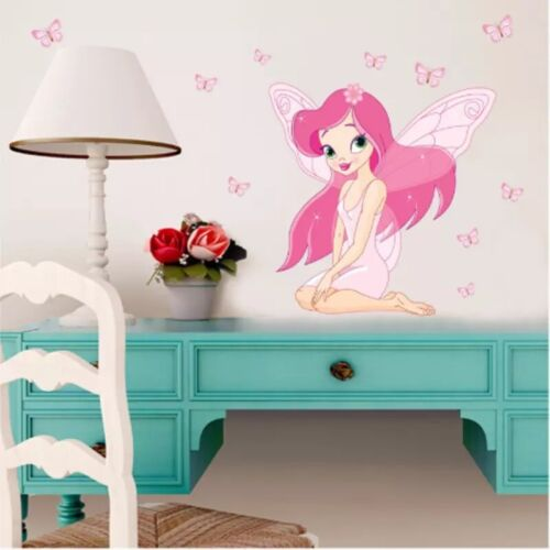 Pink Butterflies Fairy Removable Wall Decals Stickers Baby Kids Room Home Decor