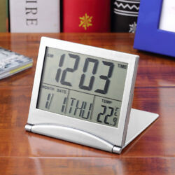 Slim Digital LCD Weather Station Folding Desk Temperature Travel Alarm Clock