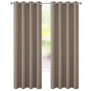 "Taupe Curtains Pair 52""x84"" New by Floweroom Blackout Collection"