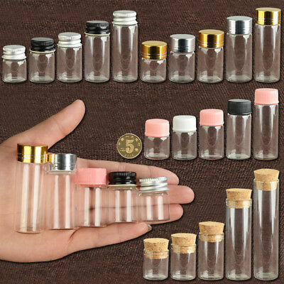 Cute Glass Vial Jars Transparent Bung Test Tube Bottle Crafts With Lid 5~22ml - Cute Jars