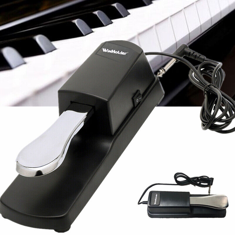 Anti-Slip Electronic Piano Keyboard Damper Sustain Foot Pedal 1/4 Input Jack