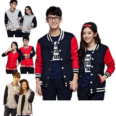 Men Womens Plain Varsity Baseball Jacket Coat College Casual Sweater Sports Tops