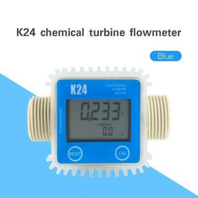 K24 Large Lcd Turbine Digital Diesel Fuel Flow Meter For Chemicals Water Blue