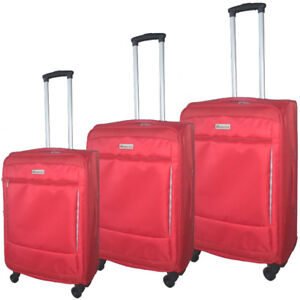 New 3 Soft sided 3 piece Luggage set Red