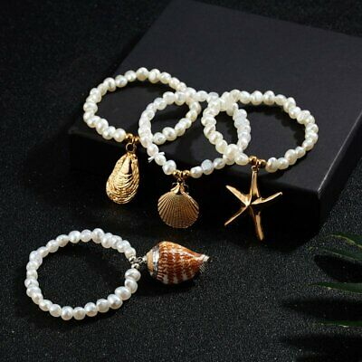 Gold Scallop Shell Bracelet - Fashion Women Pearl Chain Bracelet Starfish Scallop Shell Charm Bangle Jewelry