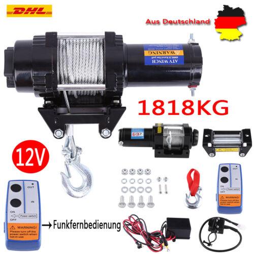 12V Elektrische Seilwinde Motorwinde Offroad 12 Volt 1818kg Funkfernbedienung EU
