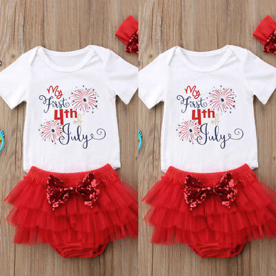 Infant Baby Girl My First 4Th Of July Outfit Romper Tutu Pants Headband 3Pcs Set