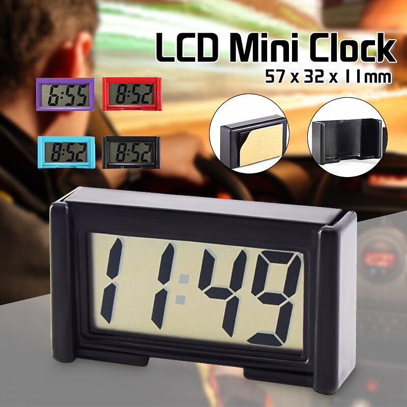 LCD Auto Digital Car Table Wall Clock Time Date Self-Adhesive Stick On Portable