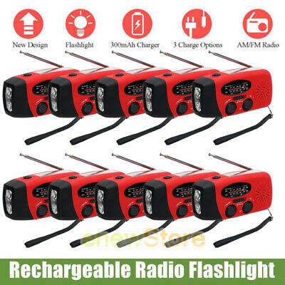 Lot Emergency Solar Hand Crank Dynamo Am Fm Noaa Weather Radio Flashlight Charge