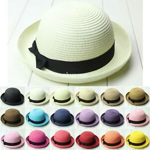 Fashion-Women-Straw-Bowler-Hat-Sun-Beach-Fedora-Derby-Style-Cloche-Brim-Cap-Hot