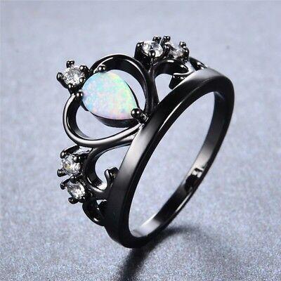 Schwarz Gold gefüllt Krone Ring mit Feuer Opal und Weiß Cubic Zirkonia Juwelen (Schwarze Und Weiße Krone)