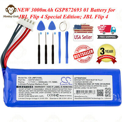 Battery for JBL Flip 4, Flip 4 Special Edition Replace JBL GSP872693 01 New 01 Lithium Ion Rechargeable Battery