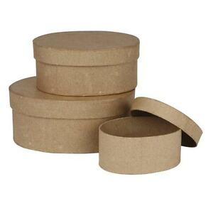 Set-3-Oval-Shaped-Box-Craft-Storage-Brown-Paper-Mache-Create-Decorate-Hand-Made